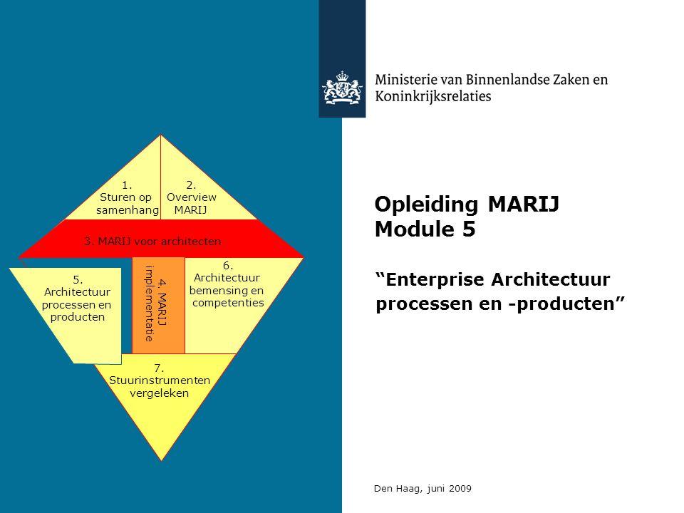 Opleiding MARIJ Module 5 Enterprise Architectuur processen en -producten Den Haag, juni 2009 3.