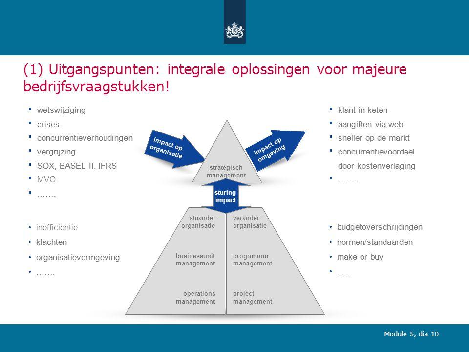 Module 5, dia 10 (1) Uitgangspunten: integrale oplossingen voor majeure bedrijfsvraagstukken.