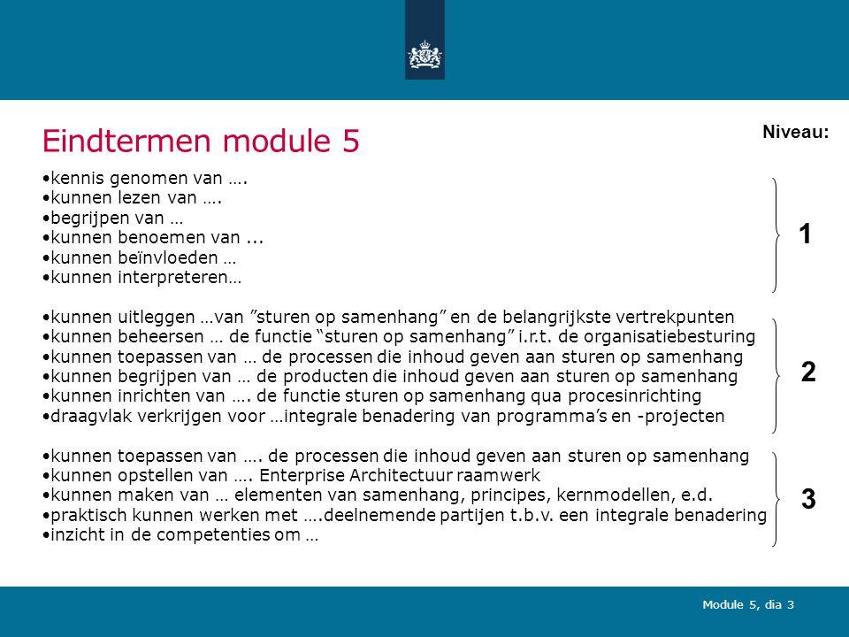 Module 5, dia 3 Eindtermen module 5 kennis genomen van ….