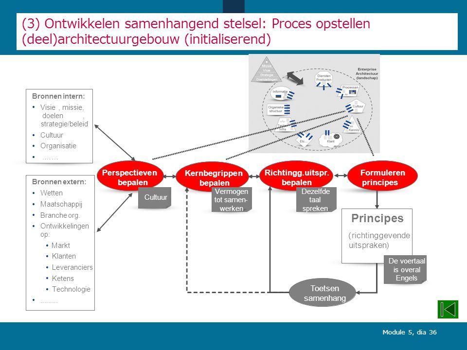 Module 5, dia 36 (3) Ontwikkelen samenhangend stelsel: Proces opstellen (deel)architectuurgebouw (initialiserend) Formuleren principes Richtingg.uitspr.