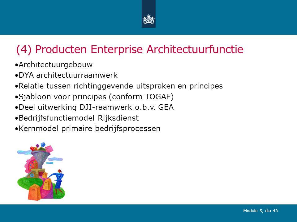 Module 5, dia 43 (4) Producten Enterprise Architectuurfunctie Architectuurgebouw DYA architectuurraamwerk Relatie tussen richtinggevende uitspraken en principes Sjabloon voor principes (conform TOGAF) Deel uitwerking DJI-raamwerk o.b.v.