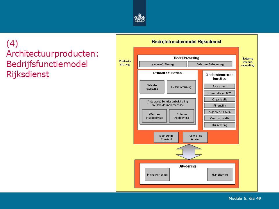 Module 5, dia 49 (4) Architectuurproducten: Bedrijfsfunctiemodel Rijksdienst