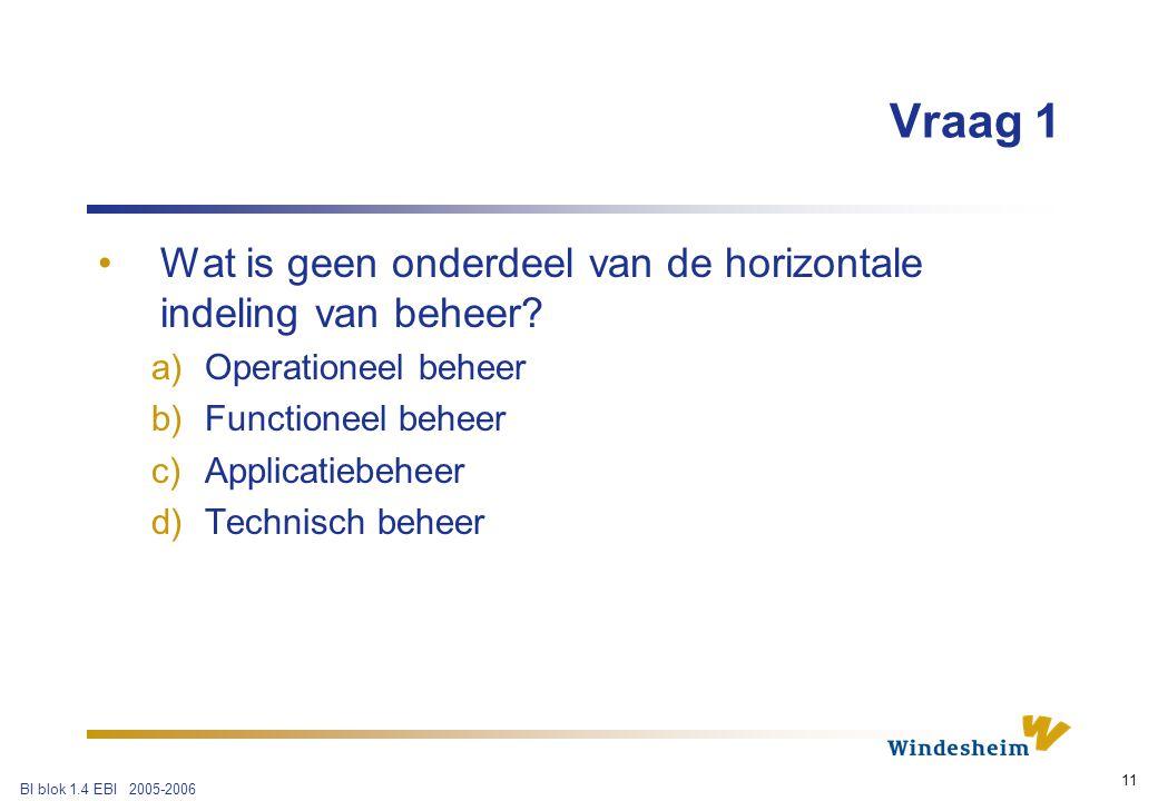 BI blok 1.4 EBI 2005-2006 11 Vraag 1 Wat is geen onderdeel van de horizontale indeling van beheer.