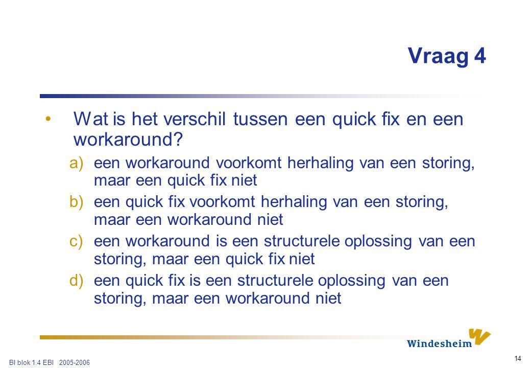 BI blok 1.4 EBI 2005-2006 14 Vraag 4 Wat is het verschil tussen een quick fix en een workaround.