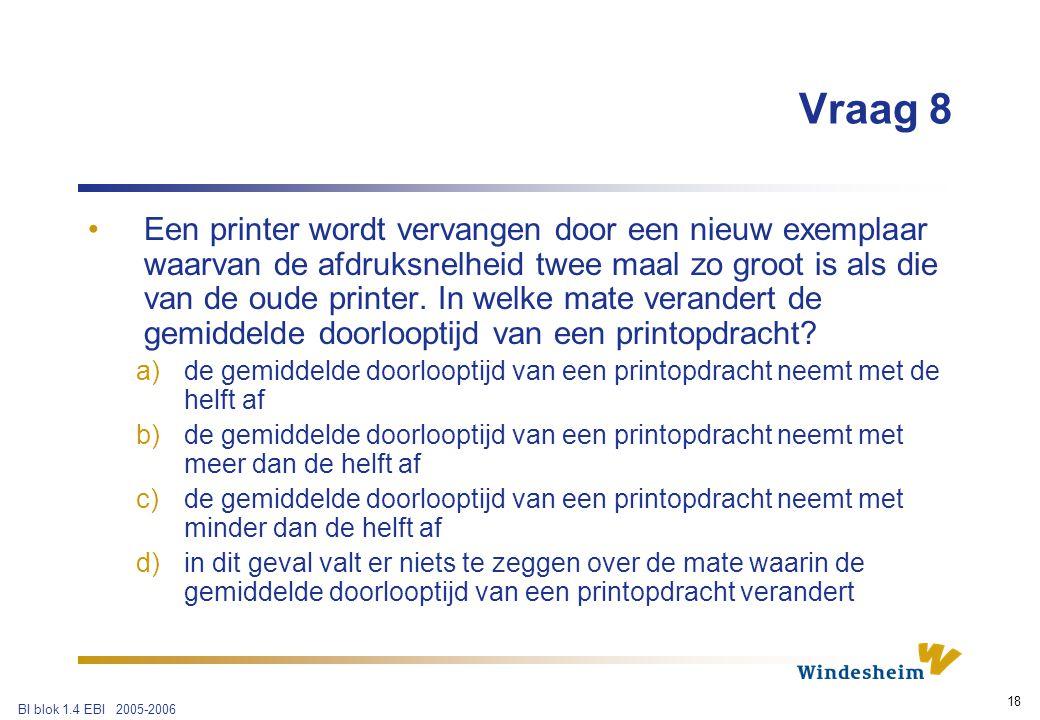 BI blok 1.4 EBI 2005-2006 18 Vraag 8 Een printer wordt vervangen door een nieuw exemplaar waarvan de afdruksnelheid twee maal zo groot is als die van de oude printer.