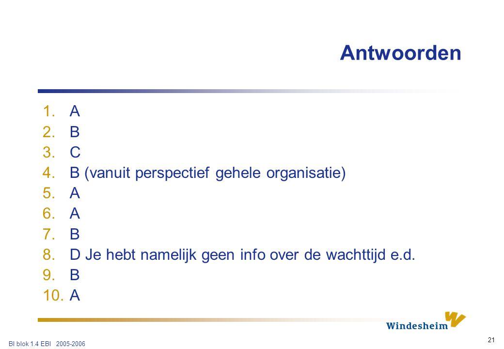 BI blok 1.4 EBI 2005-2006 21 Antwoorden 1.A 2.B 3.C 4.B (vanuit perspectief gehele organisatie) 5.A 6.A 7.B 8.D Je hebt namelijk geen info over de wachttijd e.d.