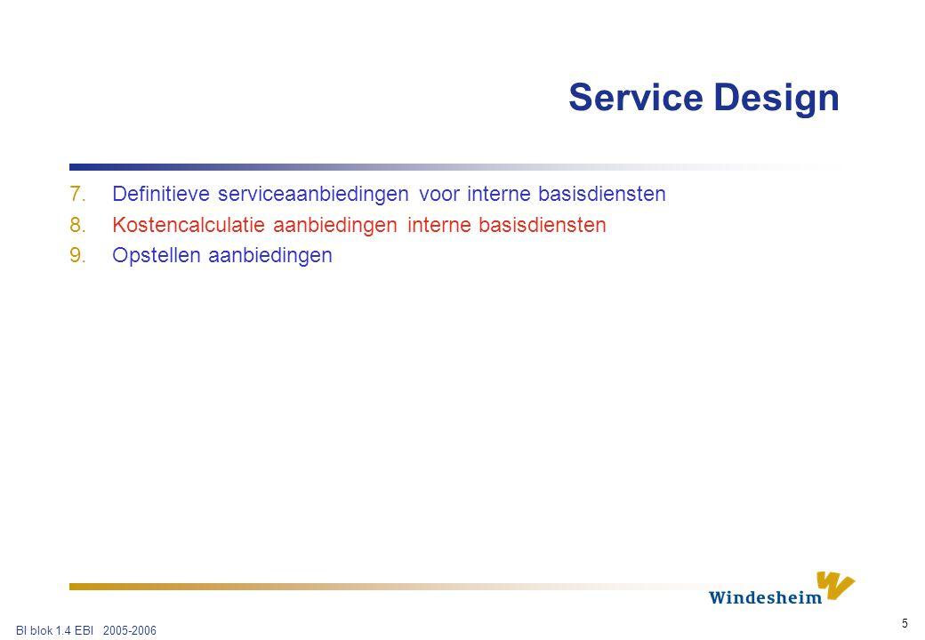BI blok 1.4 EBI 2005-2006 5 7.Definitieve serviceaanbiedingen voor interne basisdiensten 8.Kostencalculatie aanbiedingen interne basisdiensten 9.Opstellen aanbiedingen Service Design