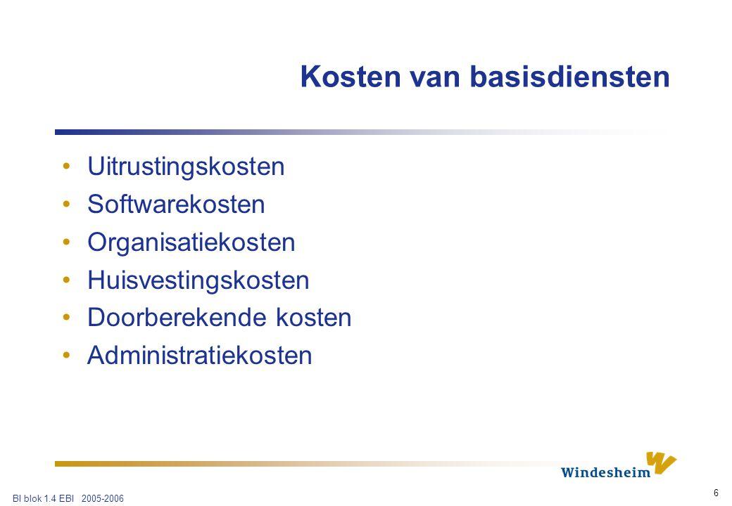 BI blok 1.4 EBI 2005-2006 7 Kosten van basisdiensten