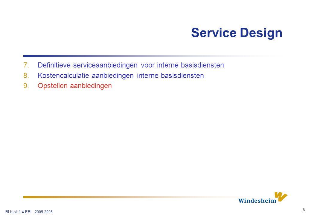 BI blok 1.4 EBI 2005-2006 8 7.Definitieve serviceaanbiedingen voor interne basisdiensten 8.Kostencalculatie aanbiedingen interne basisdiensten 9.Opstellen aanbiedingen Service Design