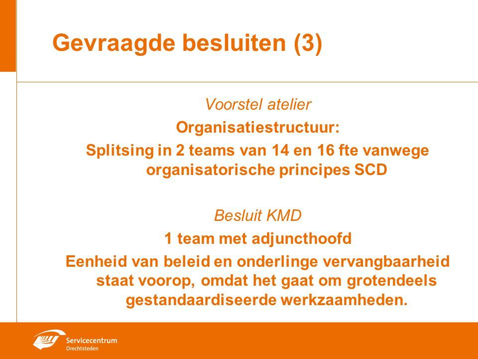 Gevraagde besluiten (3) Voorstel atelier Organisatiestructuur: Splitsing in 2 teams van 14 en 16 fte vanwege organisatorische principes SCD Besluit KMD 1 team met adjuncthoofd Eenheid van beleid en onderlinge vervangbaarheid staat voorop, omdat het gaat om grotendeels gestandaardiseerde werkzaamheden.