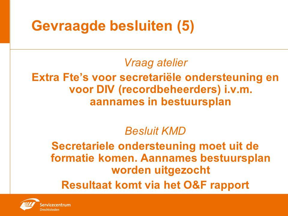 Gevraagde besluiten (5) Vraag atelier Extra Fte's voor secretariële ondersteuning en voor DIV (recordbeheerders) i.v.m. aannames in bestuursplan Beslu