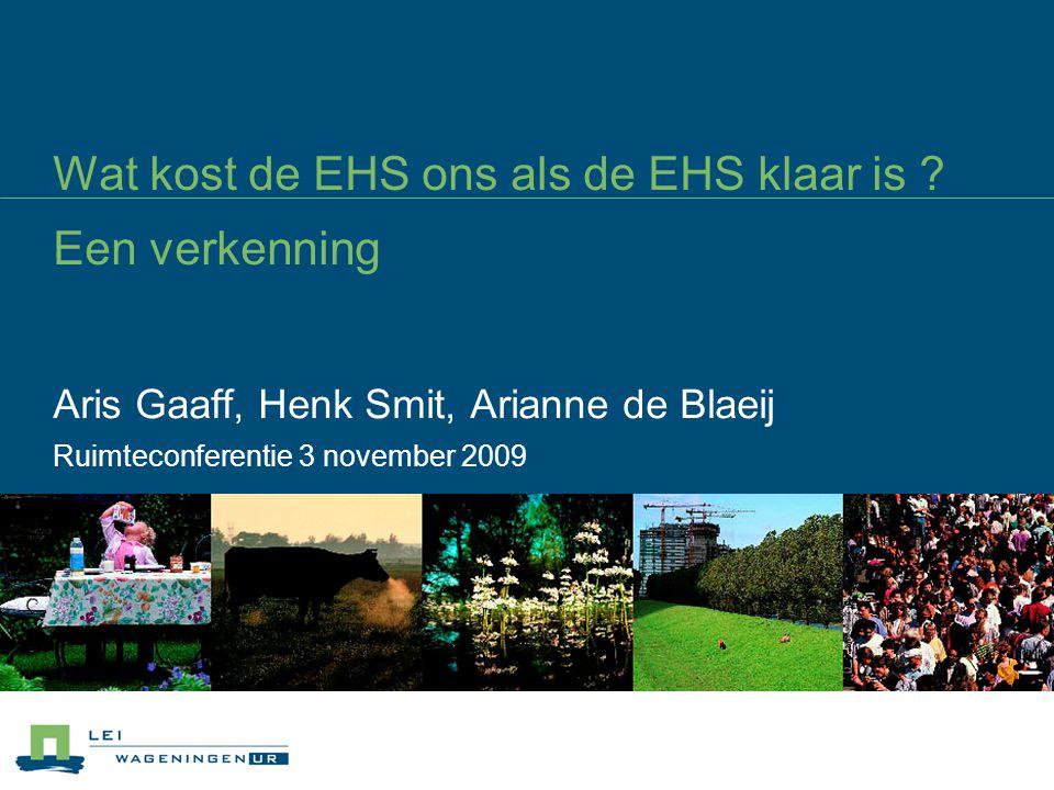 Huidige situatie (1/2) 1.100 miljoen Euro uitgaven natuur en landschap Jaarlijkse uitgaven ¾ publiek, ¼ privaat € 65-70 per hoofd van de bevolking 0,2 % bbp EHS: € 300 tot 400 miljoen EHS: 0,21% van totale rijksuitgaven
