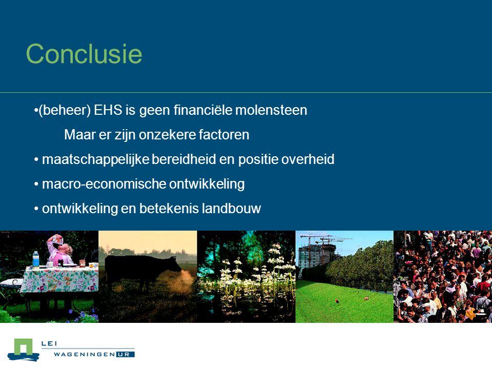 Conclusie © Wageningen UR (beheer) EHS is geen financiële molensteen Maar er zijn onzekere factoren maatschappelijke bereidheid en positie overheid macro-economische ontwikkeling ontwikkeling en betekenis landbouw