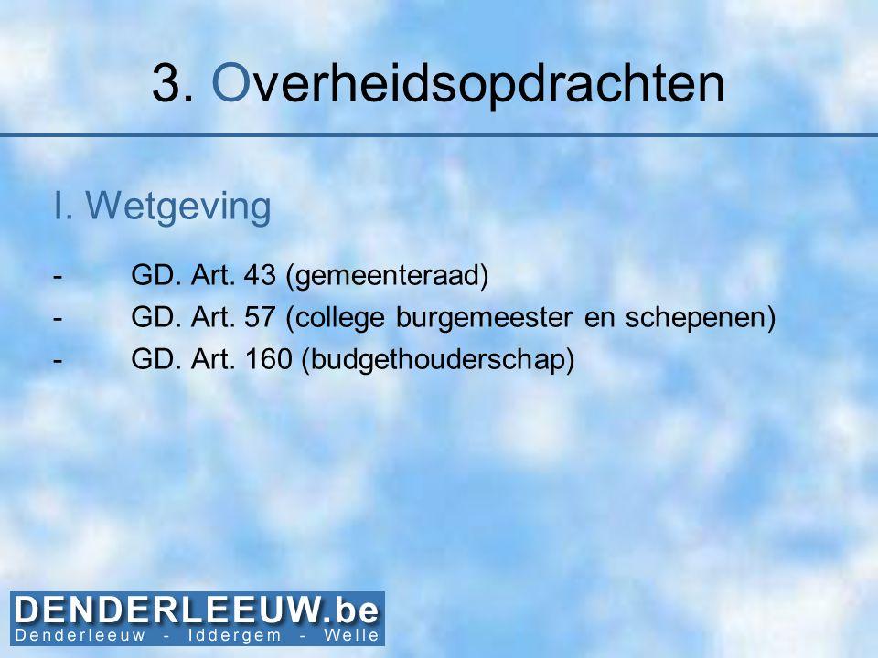 3. Overheidsopdrachten I. Wetgeving -GD. Art. 43 (gemeenteraad) -GD. Art. 57 (college burgemeester en schepenen) -GD. Art. 160 (budgethouderschap)
