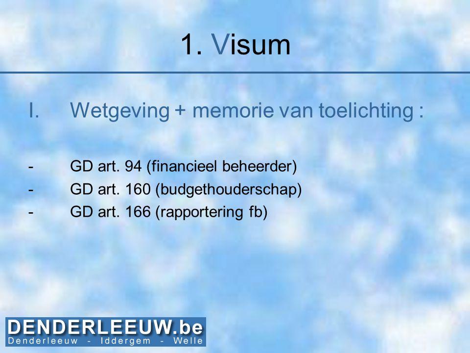 1. Visum I.Wetgeving + memorie van toelichting : -GD art. 94 (financieel beheerder) -GD art. 160 (budgethouderschap) -GD art. 166 (rapportering fb)