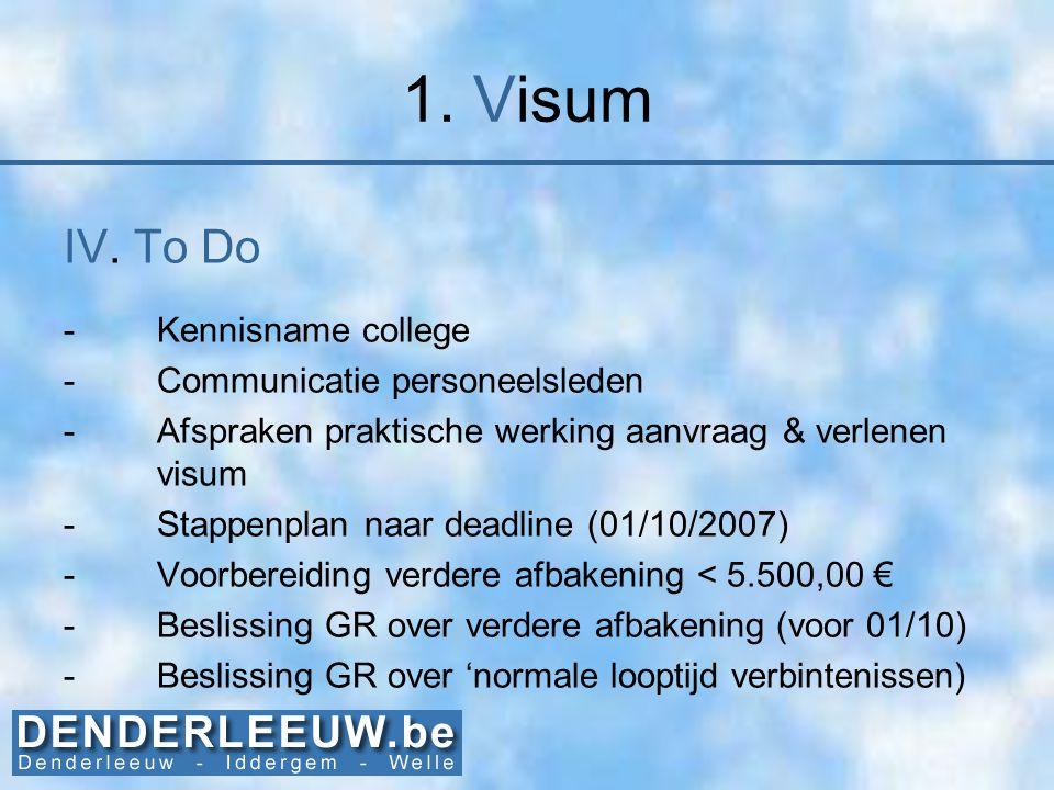 1. Visum IV. To Do -Kennisname college -Communicatie personeelsleden -Afspraken praktische werking aanvraag & verlenen visum -Stappenplan naar deadlin