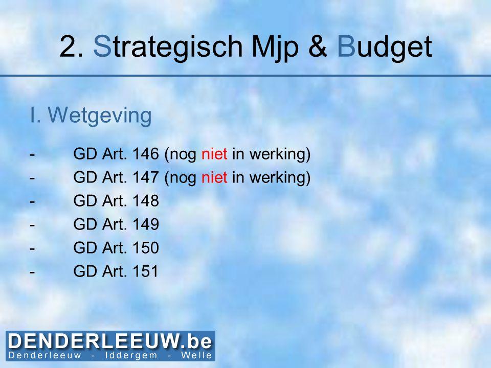 2. Strategisch Mjp & Budget I. Wetgeving -GD Art. 146 (nog niet in werking) -GD Art. 147 (nog niet in werking) -GD Art. 148 -GD Art. 149 -GD Art. 150
