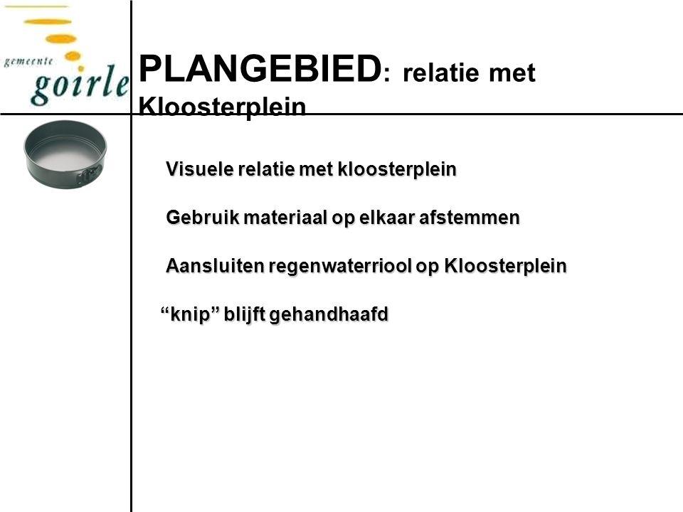 PLANGEBIED : relatie met Kloosterplein Visuele relatie met kloosterplein Gebruik materiaal op elkaar afstemmen Aansluiten regenwaterriool op Kloosterplein knip blijft gehandhaafd