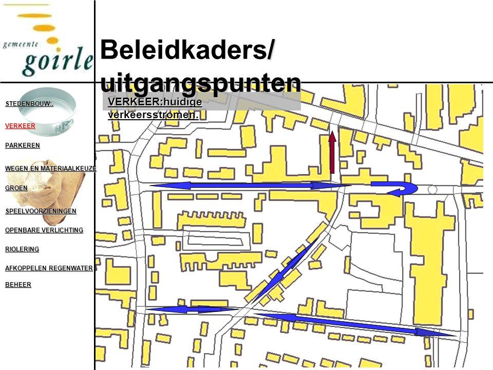 VERKEER:huidige verkeersstromen. STEDENBOUW:. VERKEER PARKEREN WEGEN EN MATERIAALKEUZE GROEN SPEELVOORZIENINGEN OPENBARE VERLICHTING RIOLERING AFKOPPE