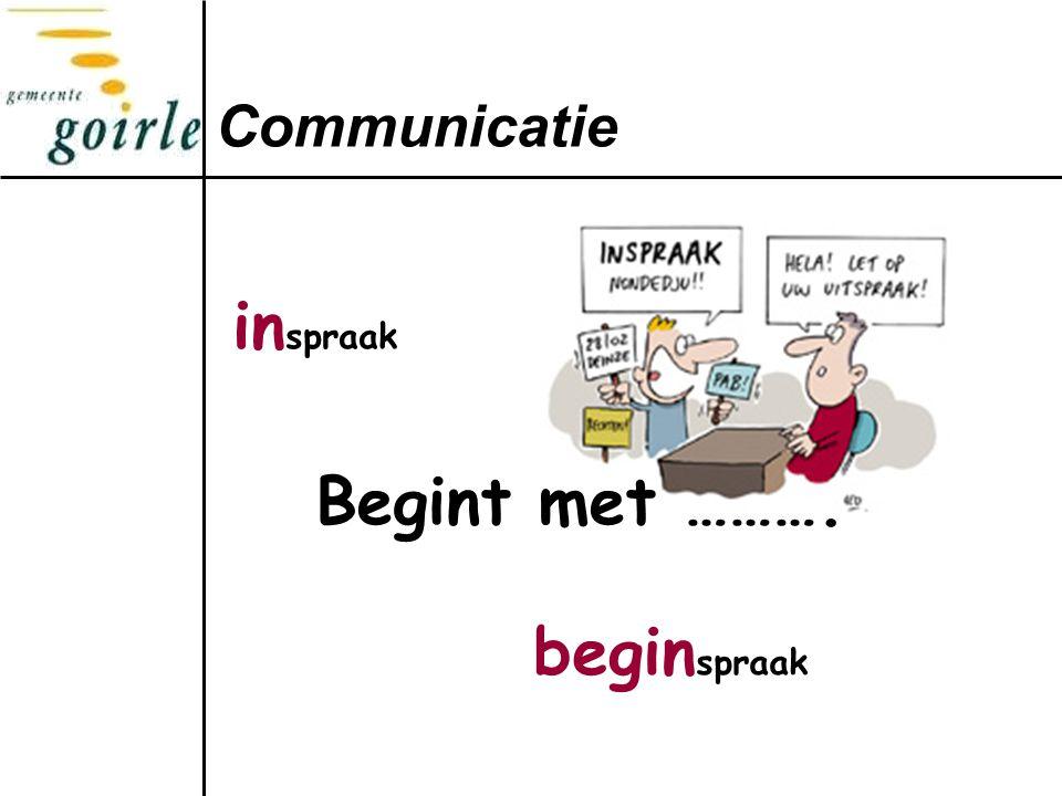 Communicatie begin spraak in spraak Begint met ……….