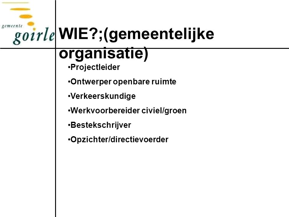 WIE?;(gemeentelijke organisatie) Projectleider Ontwerper openbare ruimte Verkeerskundige Werkvoorbereider civiel/groen Bestekschrijver Opzichter/directievoerder