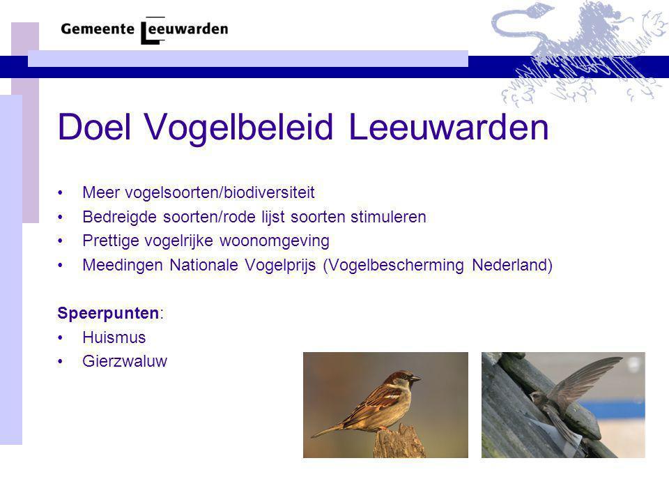 Doel Vogelbeleid Leeuwarden Meer vogelsoorten/biodiversiteit Bedreigde soorten/rode lijst soorten stimuleren Prettige vogelrijke woonomgeving Meedinge