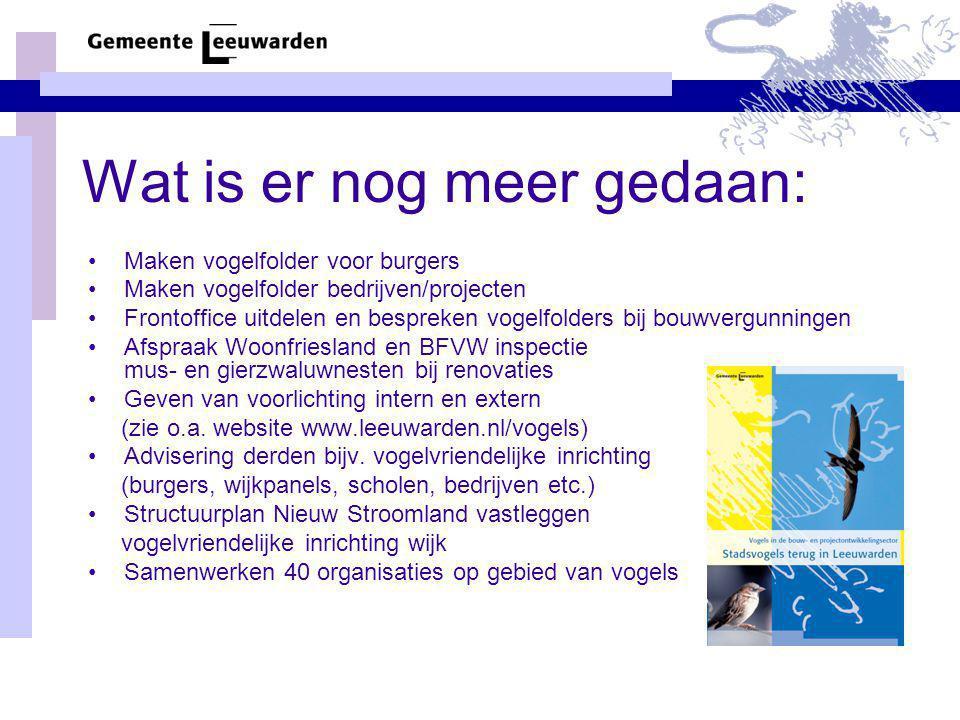 Wat is er nog meer gedaan: Maken vogelfolder voor burgers Maken vogelfolder bedrijven/projecten Frontoffice uitdelen en bespreken vogelfolders bij bou
