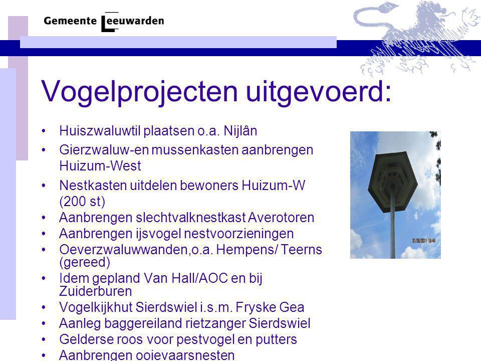 Vogelprojecten uitgevoerd: Huiszwaluwtil plaatsen o.a. Nijlân Gierzwaluw-en mussenkasten aanbrengen Huizum-West Nestkasten uitdelen bewoners Huizum-W