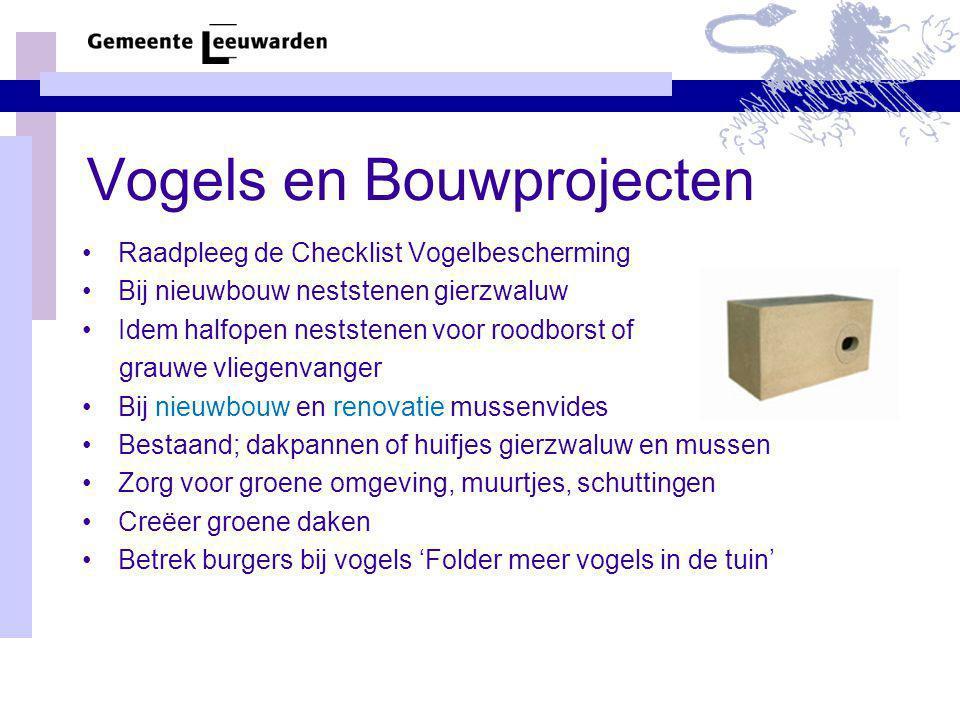 Vogels en Bouwprojecten Raadpleeg de Checklist Vogelbescherming Bij nieuwbouw neststenen gierzwaluw Idem halfopen neststenen voor roodborst of grauwe