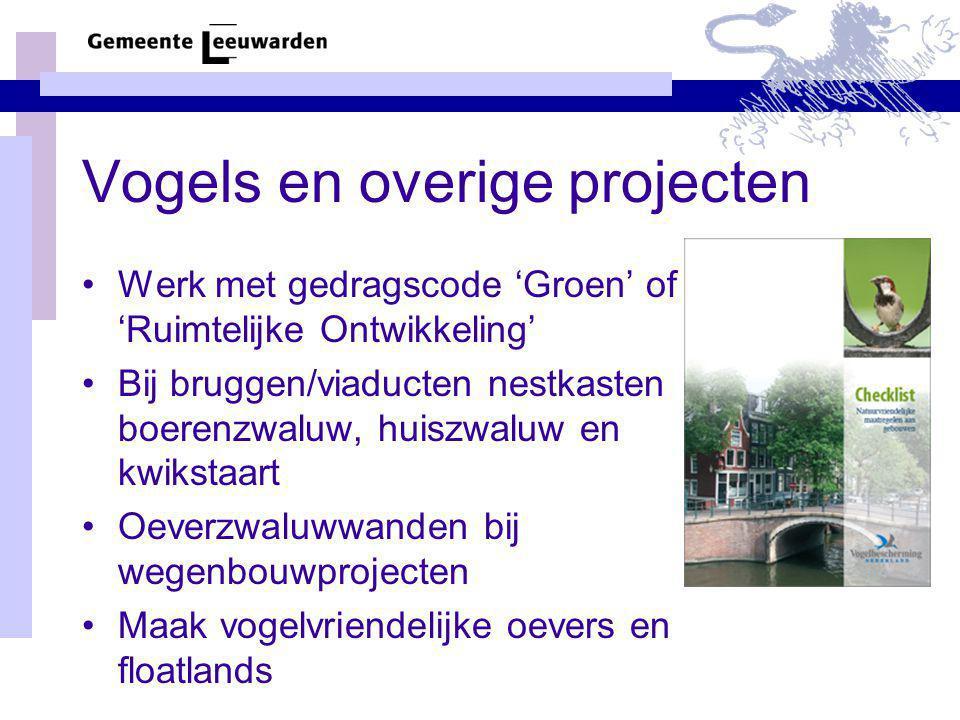 Vogels en overige projecten Werk met gedragscode 'Groen' of 'Ruimtelijke Ontwikkeling' Bij bruggen/viaducten nestkasten boerenzwaluw, huiszwaluw en kw