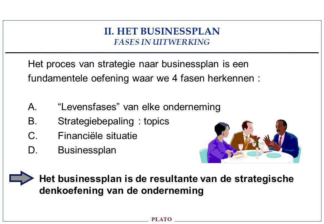 PLATO Het proces van strategie naar businessplan is een fundamentele oefening waar we 4 fasen herkennen : A.