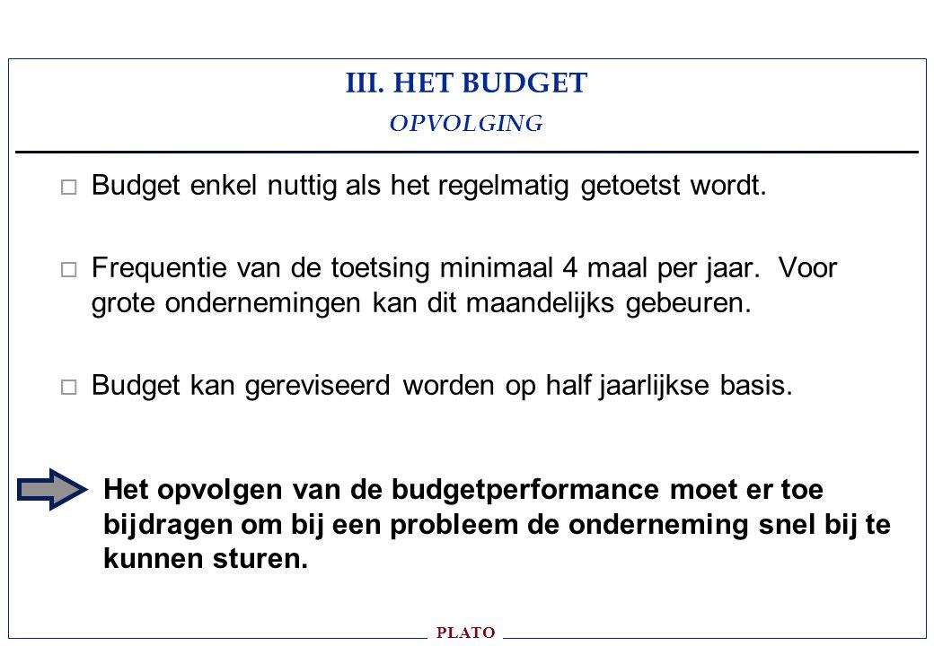 PLATO o Budget enkel nuttig als het regelmatig getoetst wordt.