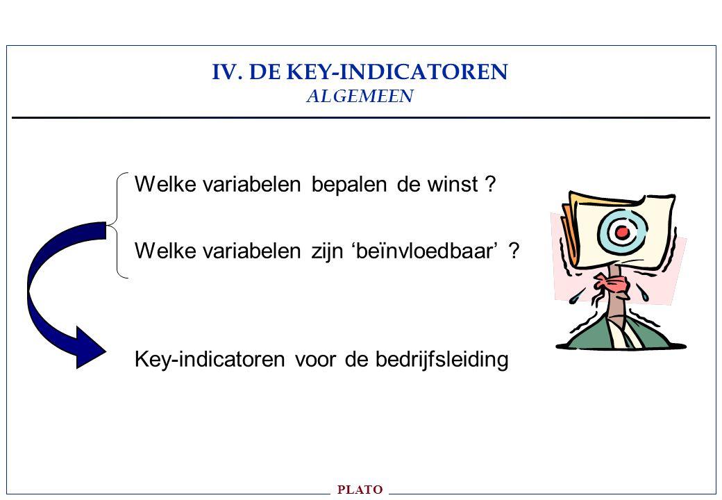 PLATO IV.DE KEY-INDICATOREN ALGEMEEN Welke variabelen bepalen de winst .