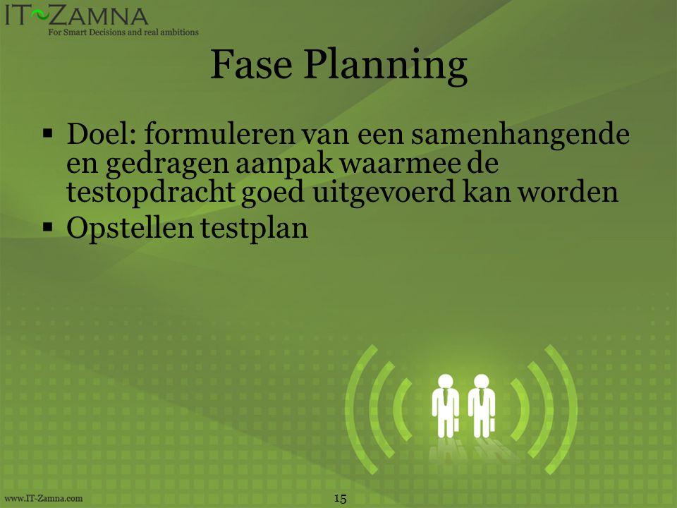 Fase Planning  Doel: formuleren van een samenhangende en gedragen aanpak waarmee de testopdracht goed uitgevoerd kan worden  Opstellen testplan 15