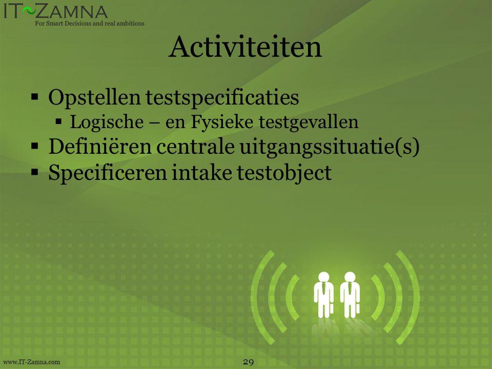 Activiteiten  Opstellen testspecificaties  Logische – en Fysieke testgevallen  Definiëren centrale uitgangssituatie(s)  Specificeren intake testobject 29