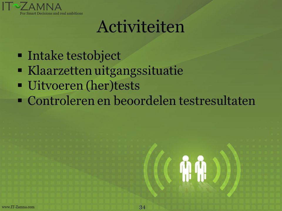Activiteiten  Intake testobject  Klaarzetten uitgangssituatie  Uitvoeren (her)tests  Controleren en beoordelen testresultaten 34