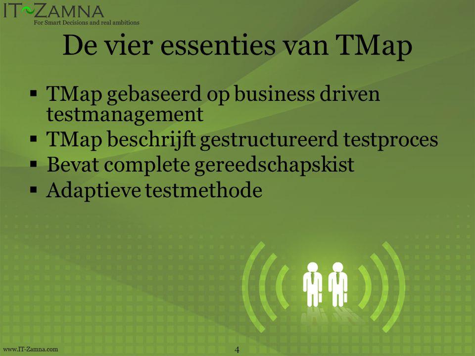 De vier essenties van TMap  TMap gebaseerd op business driven testmanagement  TMap beschrijft gestructureerd testproces  Bevat complete gereedschapskist  Adaptieve testmethode 4