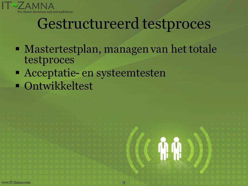 Gestructureerd testproces  Mastertestplan, managen van het totale testproces  Acceptatie- en systeemtesten  Ontwikkeltest 9