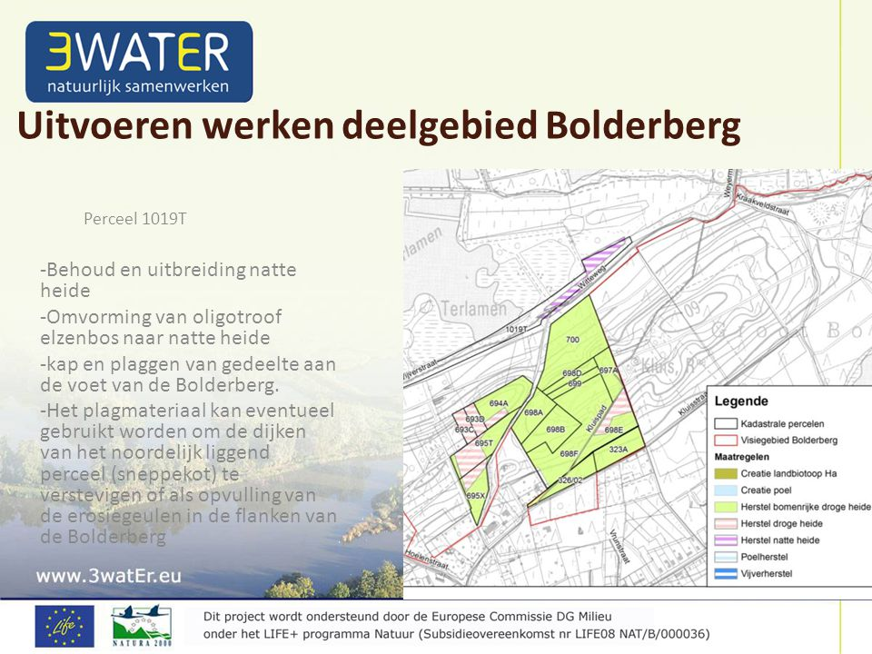 Perceel 1019T -Behoud en uitbreiding natte heide -Omvorming van oligotroof elzenbos naar natte heide -kap en plaggen van gedeelte aan de voet van de Bolderberg.