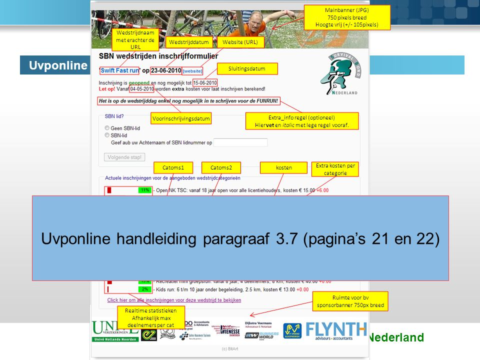 Survival Bond Nederland Uvponline frontend: configuratie velden via backend Uvponline handleiding paragraaf 3.7 (pagina's 21 en 22)