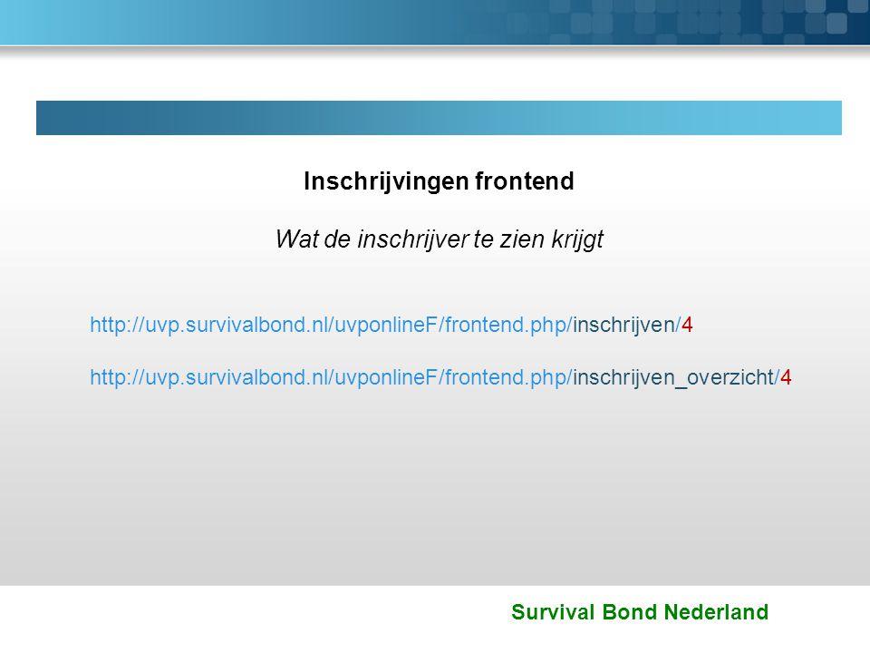 Survival Bond Nederland Inschrijvingen frontend Wat de inschrijver te zien krijgt http://uvp.survivalbond.nl/uvponlineF/frontend.php/inschrijven/4 htt