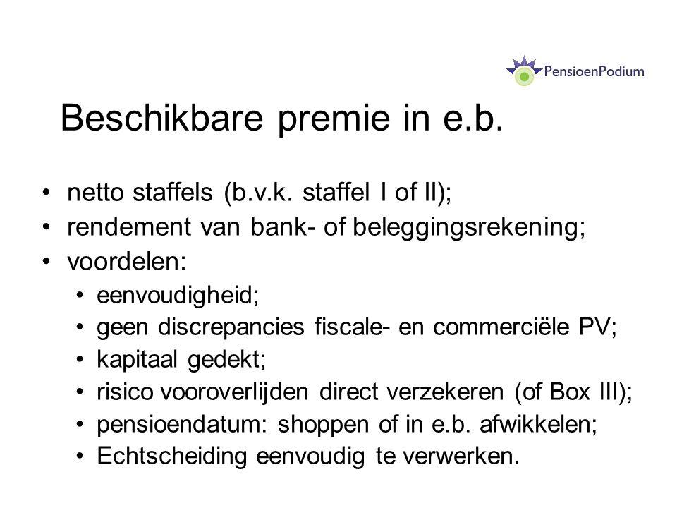 Beschikbare premie in e.b. netto staffels (b.v.k. staffel I of II); rendement van bank- of beleggingsrekening; voordelen: eenvoudigheid; geen discrepa