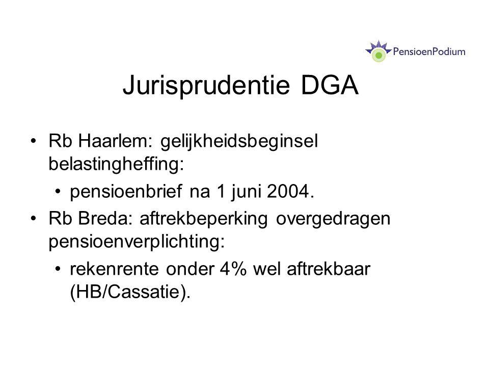 Jurisprudentie DGA Rb Haarlem: gelijkheidsbeginsel belastingheffing: pensioenbrief na 1 juni 2004. Rb Breda: aftrekbeperking overgedragen pensioenverp