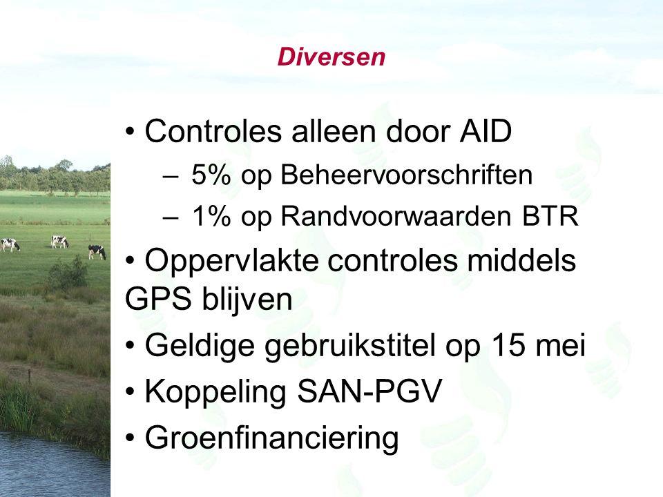 Diversen Controles alleen door AID – 5% op Beheervoorschriften – 1% op Randvoorwaarden BTR Oppervlakte controles middels GPS blijven Geldige gebruikstitel op 15 mei Koppeling SAN-PGV Groenfinanciering