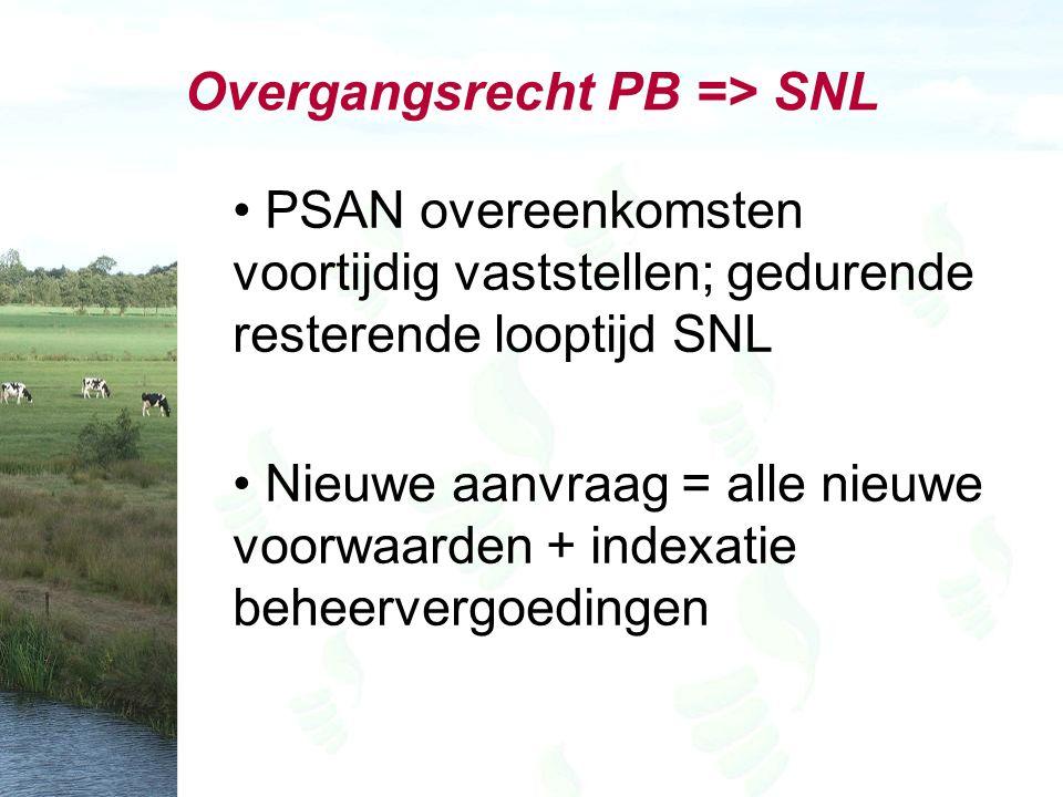 Overgangsrecht PB => SNL PSAN overeenkomsten voortijdig vaststellen; gedurende resterende looptijd SNL Nieuwe aanvraag = alle nieuwe voorwaarden + indexatie beheervergoedingen