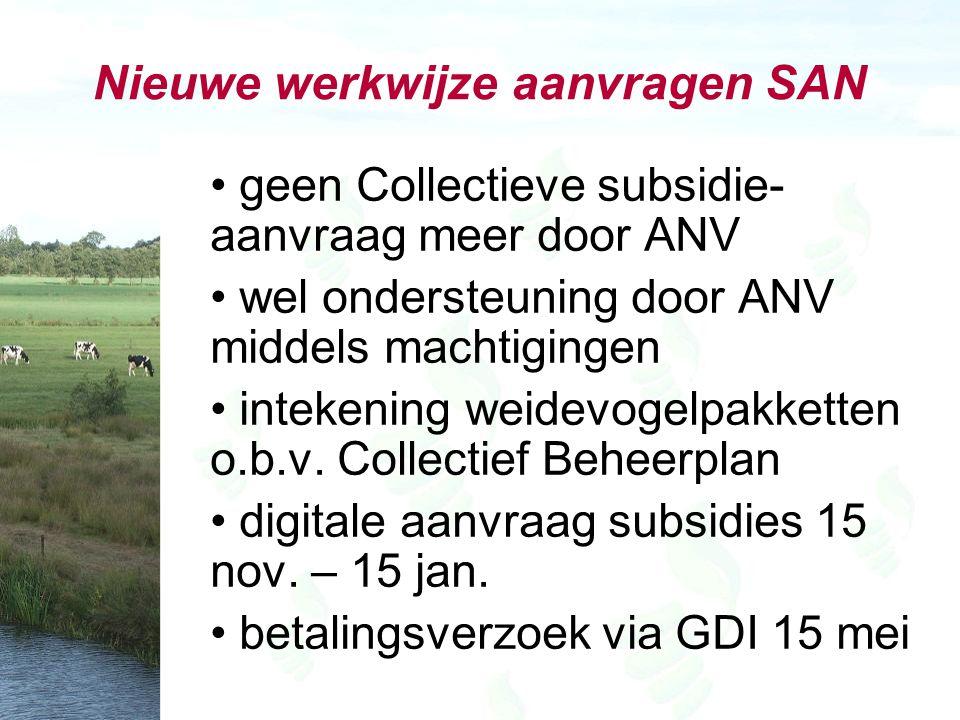 Nieuwe werkwijze aanvragen SAN geen Collectieve subsidie- aanvraag meer door ANV wel ondersteuning door ANV middels machtigingen intekening weidevogelpakketten o.b.v.