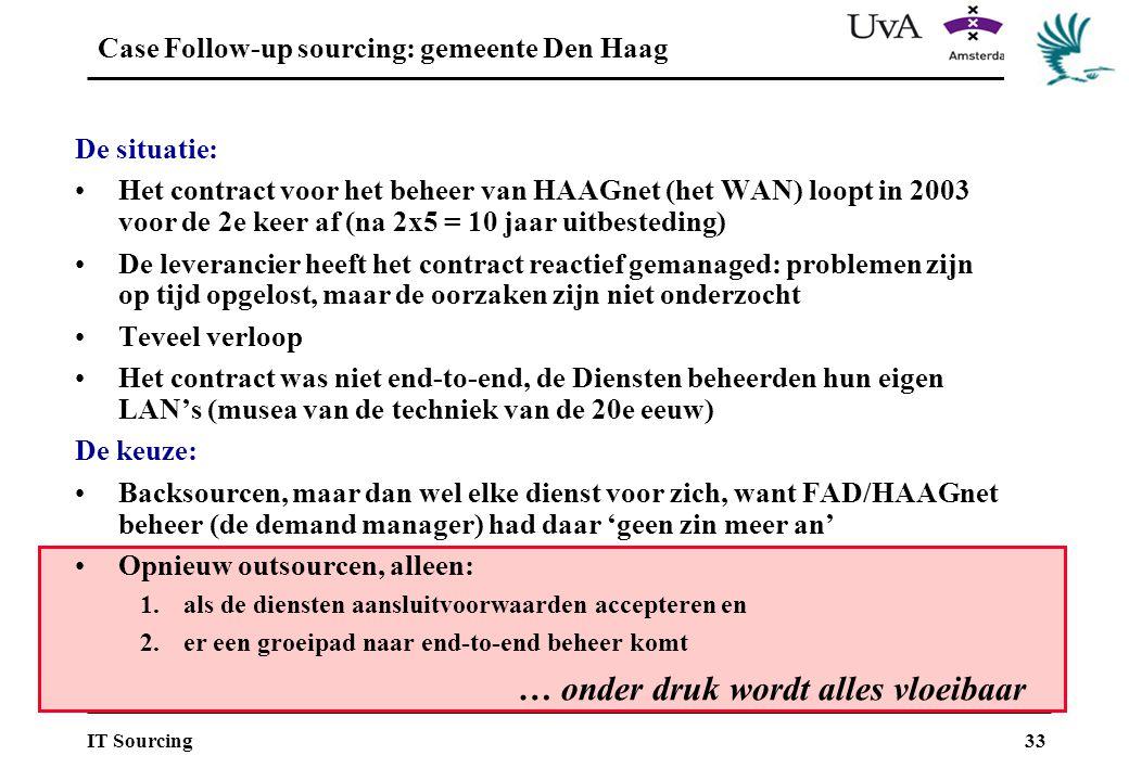 33IT Sourcing … onder druk wordt alles vloeibaar Case Follow-up sourcing: gemeente Den Haag De situatie: Het contract voor het beheer van HAAGnet (het WAN) loopt in 2003 voor de 2e keer af (na 2x5 = 10 jaar uitbesteding) De leverancier heeft het contract reactief gemanaged: problemen zijn op tijd opgelost, maar de oorzaken zijn niet onderzocht Teveel verloop Het contract was niet end-to-end, de Diensten beheerden hun eigen LAN's (musea van de techniek van de 20e eeuw) De keuze: Backsourcen, maar dan wel elke dienst voor zich, want FAD/HAAGnet beheer (de demand manager) had daar 'geen zin meer an' Opnieuw outsourcen, alleen: 1.als de diensten aansluitvoorwaarden accepteren en 2.er een groeipad naar end-to-end beheer komt