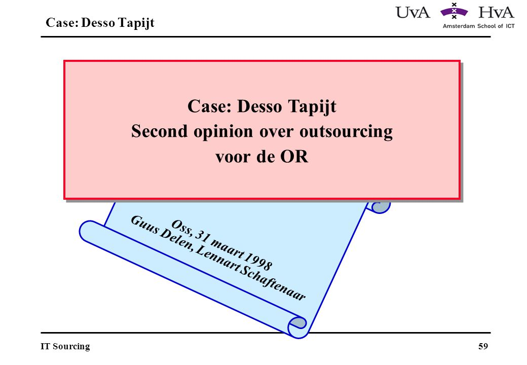 59IT Sourcing Oss, 31 maart 1998 Guus Delen, Lennart Schaftenaar Case: Desso Tapijt Second opinion over outsourcing voor de OR Case: Desso Tapijt Second opinion over outsourcing voor de OR Case: Desso Tapijt