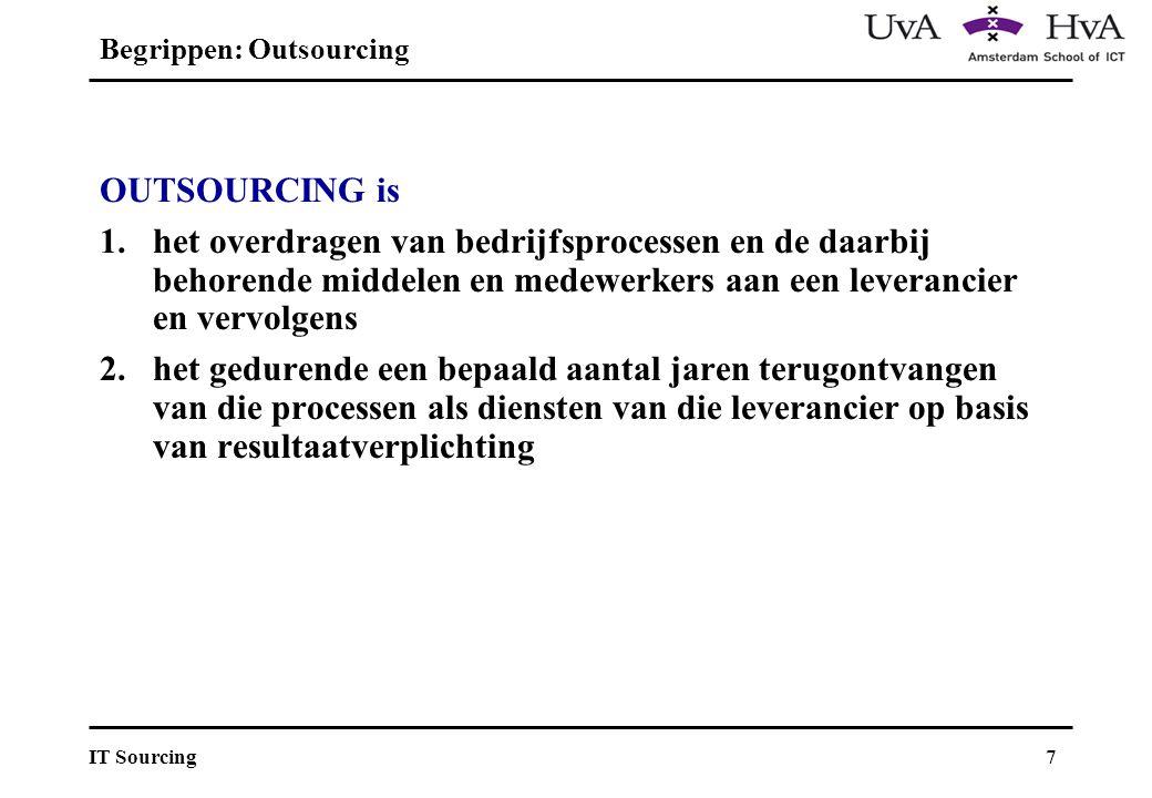 7IT Sourcing Begrippen: Outsourcing OUTSOURCING is 1.het overdragen van bedrijfsprocessen en de daarbij behorende middelen en medewerkers aan een leverancier en vervolgens 2.het gedurende een bepaald aantal jaren terugontvangen van die processen als diensten van die leverancier op basis van resultaatverplichting
