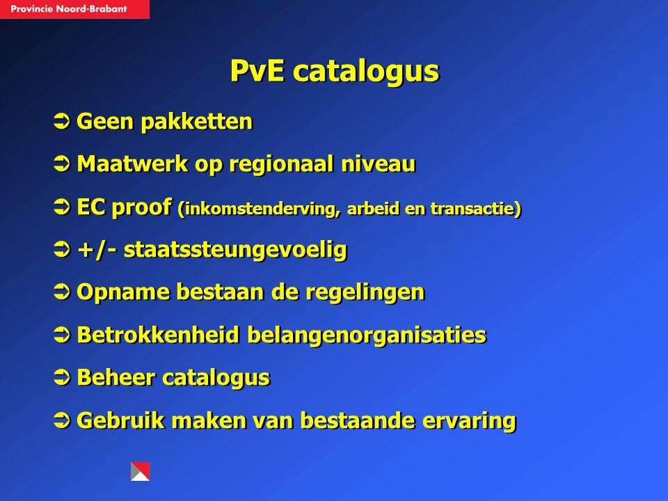 PvE catalogus  Geen pakketten  Maatwerk op regionaal niveau  EC proof (inkomstenderving, arbeid en transactie)  +/- staatssteungevoelig  Opname b